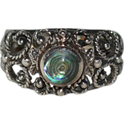 SALE Signed Sterling Silver & Abalone Accent Floral Filigree Ring Size 9