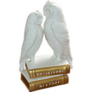 SALE Bassano Italy Agostinelli Porcelain Porcellane D'Arte White Porcelain Owl w/ Philosophy &