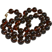 SALE Long Chunky 15 mm Faux Tortoise Shell Lucite Bead Necklace