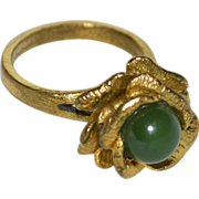 SALE Green Jade Figural Flower Gold Plated Ring ~ Size 8