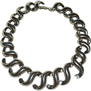 SALE Large Tribal Inspired Statement 'S' Link Silvertone Necklace