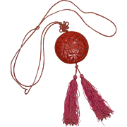 SALE Art Deco Carved Red Cinnabar Asian Tassel Pendant Necklace