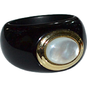 SALE 14K Gold Chunky Black Onyx and Mother of Pearl Dome Ladies' Ring ~ Size 6.5