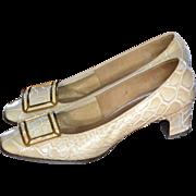 SALE 1960s Jacqueline Originals Witch Buckle Toe Embossed Crocodile Low Heel Shoes