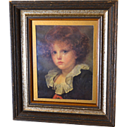 "SALE Large 15"" Somber Child Classical Art Print in Dark Wood Frame"