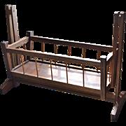 SALE Large Primitive Spindle Style Wood Rocking Cradle for Doll