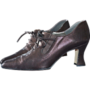SALE Award Winning Witch's Shoes! Margaret J Purplish Black Lustrous Leather Lace Up Granny ..