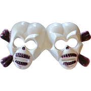 SALE Large 3D Double Skull Halloween or Pirate Cake Topper Decoration