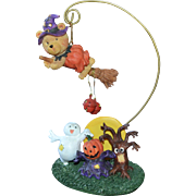 SALE 1980s Atico Halloween Witch Teddy Bear Hanger w/ Ghost, Haunted Tree & Jack-o-Lantern Dec