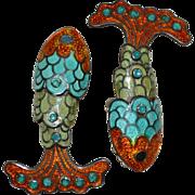 SALE Margot de Taxco Sterling Orange, Blue & Green Enamel Articulated Fish Clip Earrings
