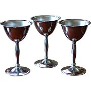 SALE Art Deco Set of 3 Chrome Stainless Cordial Pedestal Glasses
