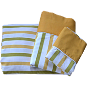 SALE Cannon Monticello 3-Pc Mustard Yellow & Avocado Green Striped Full Fitted, Flat Sheet & P