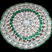 """SALE Ruffled 17"""" Large Green & White Handmade Crochet Doily"""