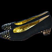 SALE Donald J. Pliner Black Suede & Metallic Gold Leather Low Heel Pumps ~ Size 6 ...