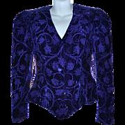 SALE 1980s Lillie Rubin Purple Velvet Leaf & Vine Brocade Lined Blazer Jacket