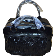 SALE NOS Large Square Black Vinyl Ruched Front Handbag Purse or Cosmetic Bag