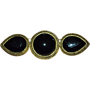 SALE Carol Dauplaise Large Black Glass Brooch/Pin