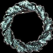 "SALE Gerry's Silvertone Fall Leaf 1.5"" Circle Scarf Pin"