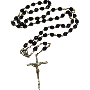 SALE Old Bronze Christ Crucifix Cross Black Glass Bead Rosary Necklace