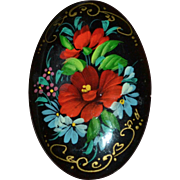 SALE Large Russian Black Lacquer Hand-painted Flowers Oval Wood Brooch/Pin