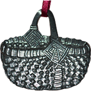 SALE Signed 1959 Danforth Pewter Heavy Basket Christmas Ornament