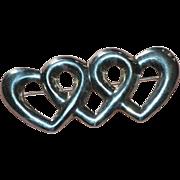 SALE Large Sterling Silver Triple Heart Pin/Brooch