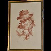 SALE Signed Itshak Holtz 'Interesting News' Large Sepia Lithograph Wood Frame