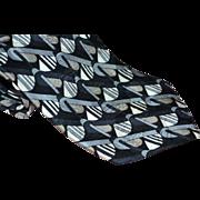 SALE Oscar de la Renta 100% Silk Black, Silver & Gray Geometric Pattern Men's Tie