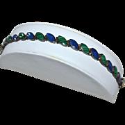 SALE Lapis Lazuli & Malachite Sterling Silver Link Bracelet