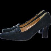 SALE Salvatore Ferragamo Black Suede Leather Designer Signature Pumps / Heels