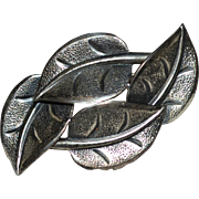 SALE Beau Sterling Silver Textured Leaf Pin/Brooch