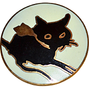 SALE MMA Metropolitan Museum of Art Round Enamel Black Cat Goldtone Brooch/Pin