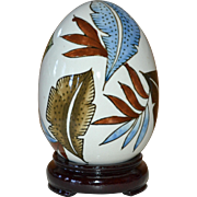 SALE Large Hand-painted Leaf White Ceramic Egg on Decorative Wood Base