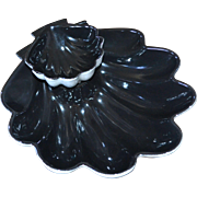 SALE Jubilee Pottery Large Black Seashell 2-Pc Ceramic Chip & Dip Set