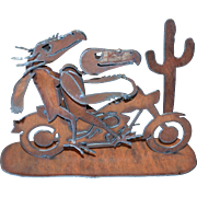 SALE Awesome Scrap Metal Skull Bird Riding a Motorcycle Brutalist Art Sculpture