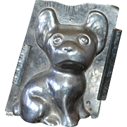 """SALE Antique 8"""" French Bulldog Chocolate Mold w/ Clips"""