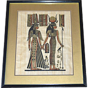 "SALE Egyptian Goddess Isis & Queen Nefertari 19"" Papyrus Art Painting in Black Wood Frame"