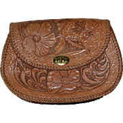 SALE Genuine Hand Tooled Leather Pansy Flower Clutch Purse