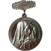 Large Vintage Aluminum Medal of Mary and Jesus
