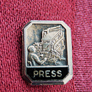 SOLD Sterling Lapel Pin of Newspaper Employee