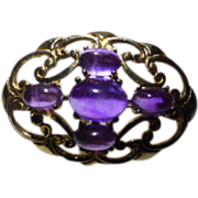 5 Cabochon oval natural  Amethysts in Gold Brooch