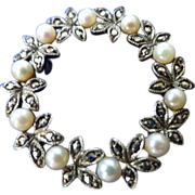 Quality Silver Marcasite & Cultured Pearl Brooch * * * * *