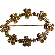 3 Colour Gold oval flower Brooch