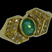 "18k Diamond & Emerald ""Art Nuevo"" Style  Ring"