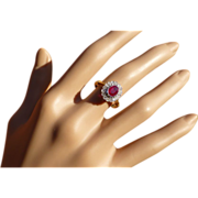 REDUCED Neat Oval Ruby & Diamond Cluster Ring.