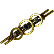 Victorian 15k Sapphire & Diamond Brooch