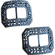 Pair of Pewter French Paste Buckles   *****