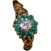 REDUCED Emerald & Diamond Cluster Ring
