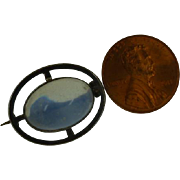 SOLD Large Hand Made oval Moonstone Silver Brooch