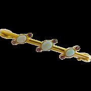 REDUCED Very pretty  Victorian Opal & Ruby 15k Brooch